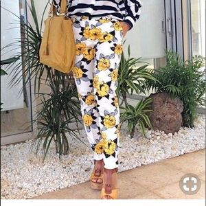 Zara yellow printed floral trousers